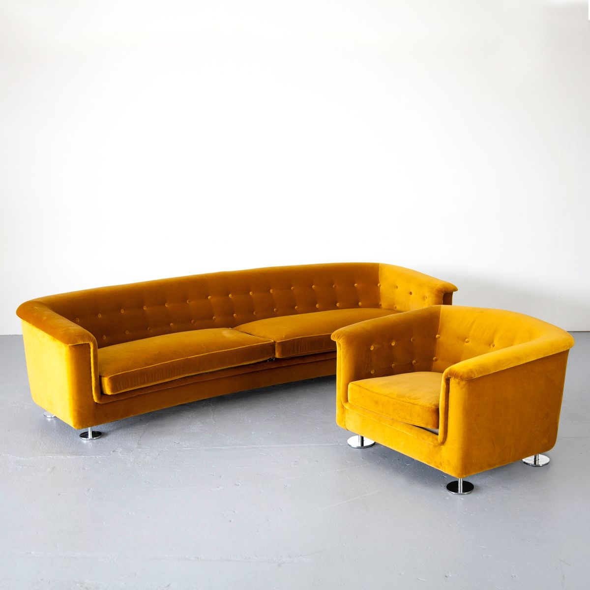 Mustard Living Room Set by Hans Kaufeld, 1970s for sale at Pamono
