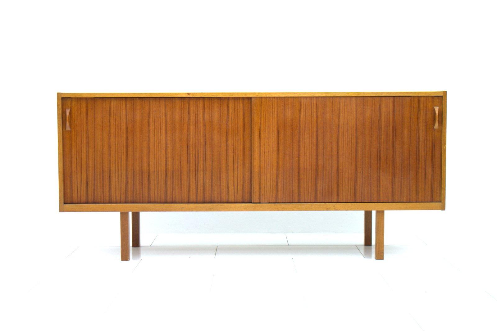 schwedisches teak sideboard mit schiebet ren 1960er bei. Black Bedroom Furniture Sets. Home Design Ideas