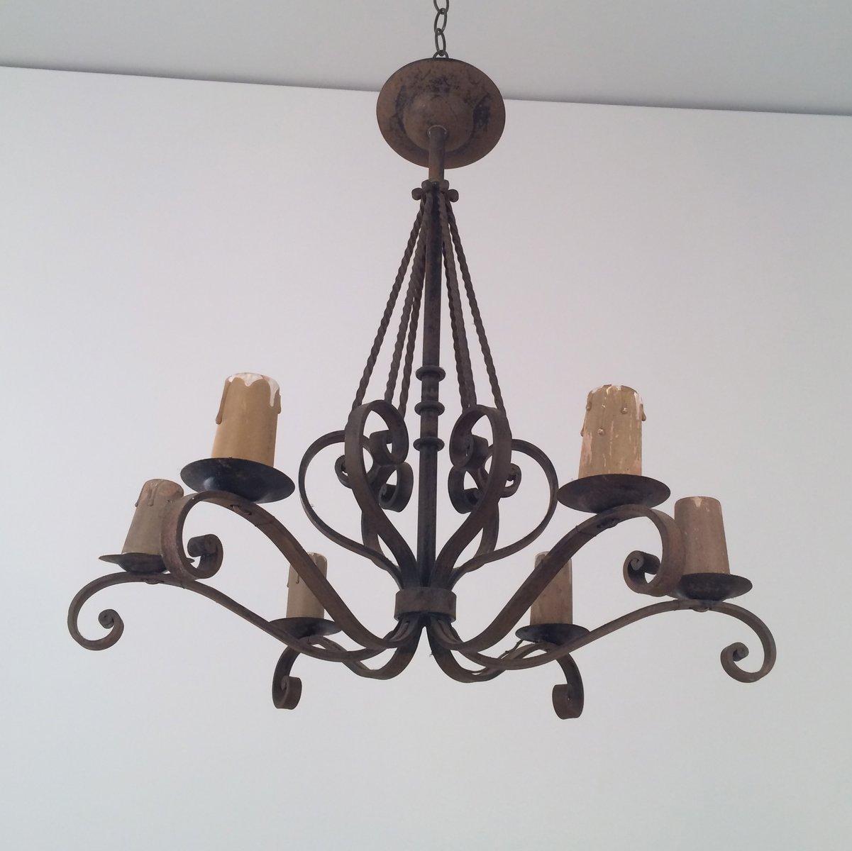 lustre en fer forg avec six bougeoirs 1920s en vente sur. Black Bedroom Furniture Sets. Home Design Ideas