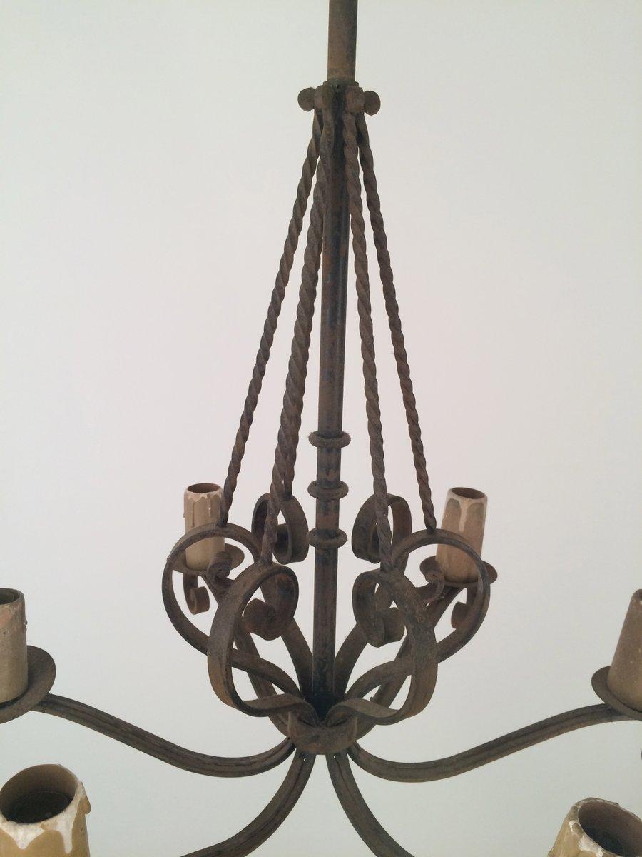 sechs kerzen schmiedeeisen kronleuchter 1920er bei pamono kaufen. Black Bedroom Furniture Sets. Home Design Ideas