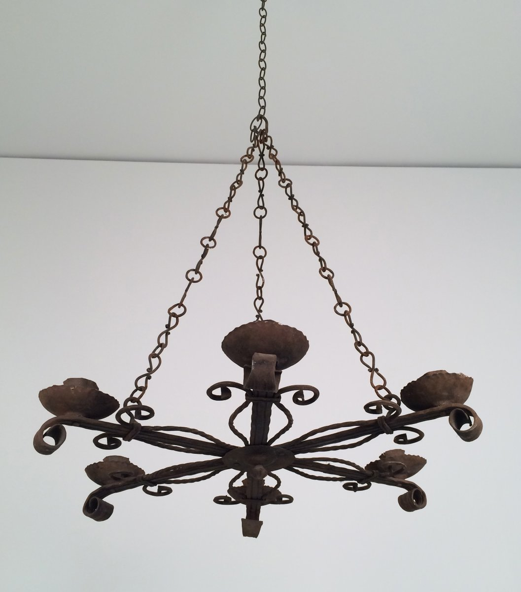 Wrought iron chandelier with 5 candle holders 1920s for sale at pamono wrought iron chandelier with 5 candle holders 1920s aloadofball Images