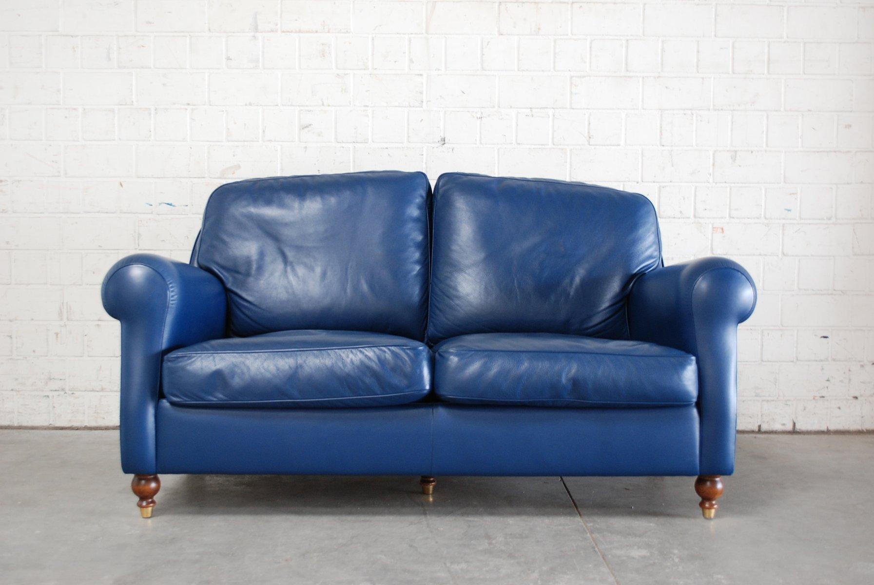 canap george en cuir bleu de poltrona frau 1999 en vente sur pamono. Black Bedroom Furniture Sets. Home Design Ideas
