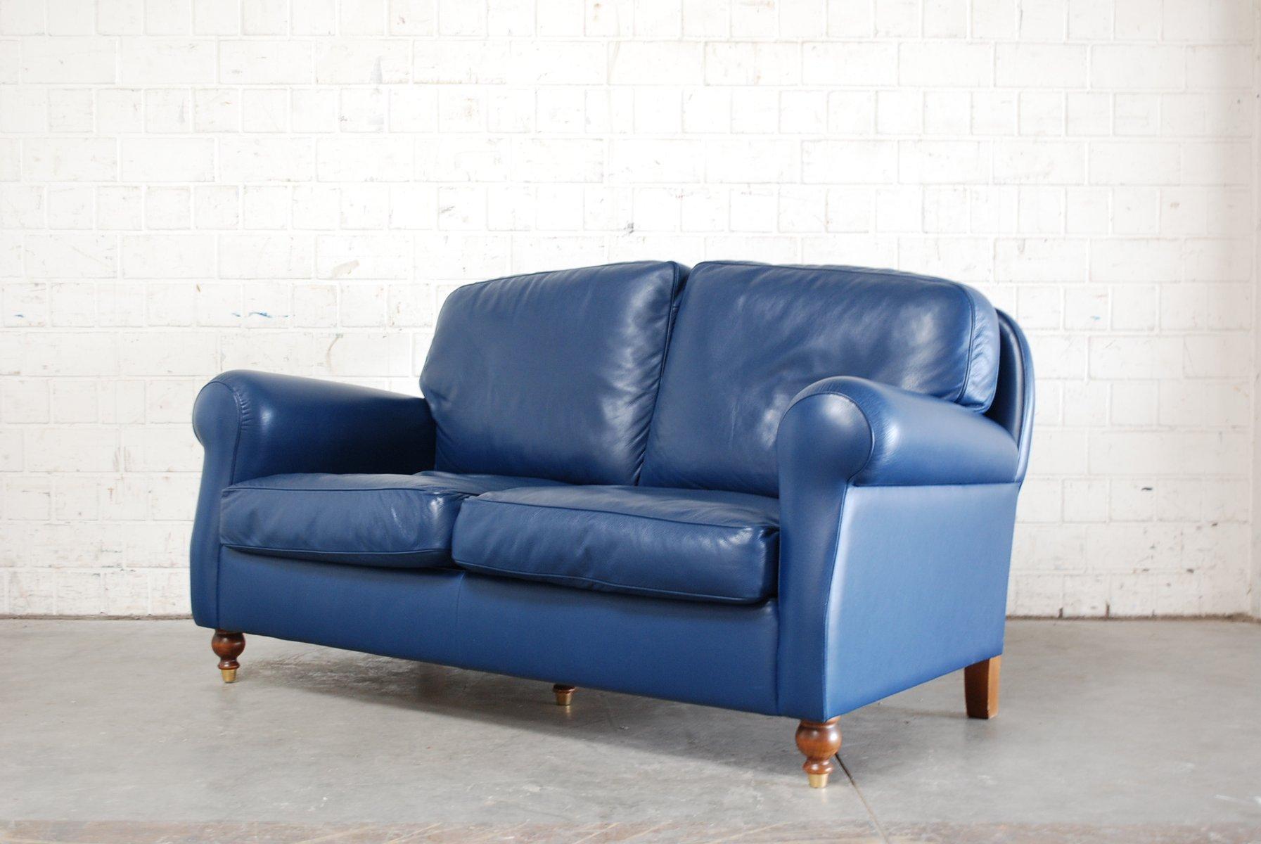 Sofa George in pelle blu di Poltrona Frau, 1999 in vendita su Pamono