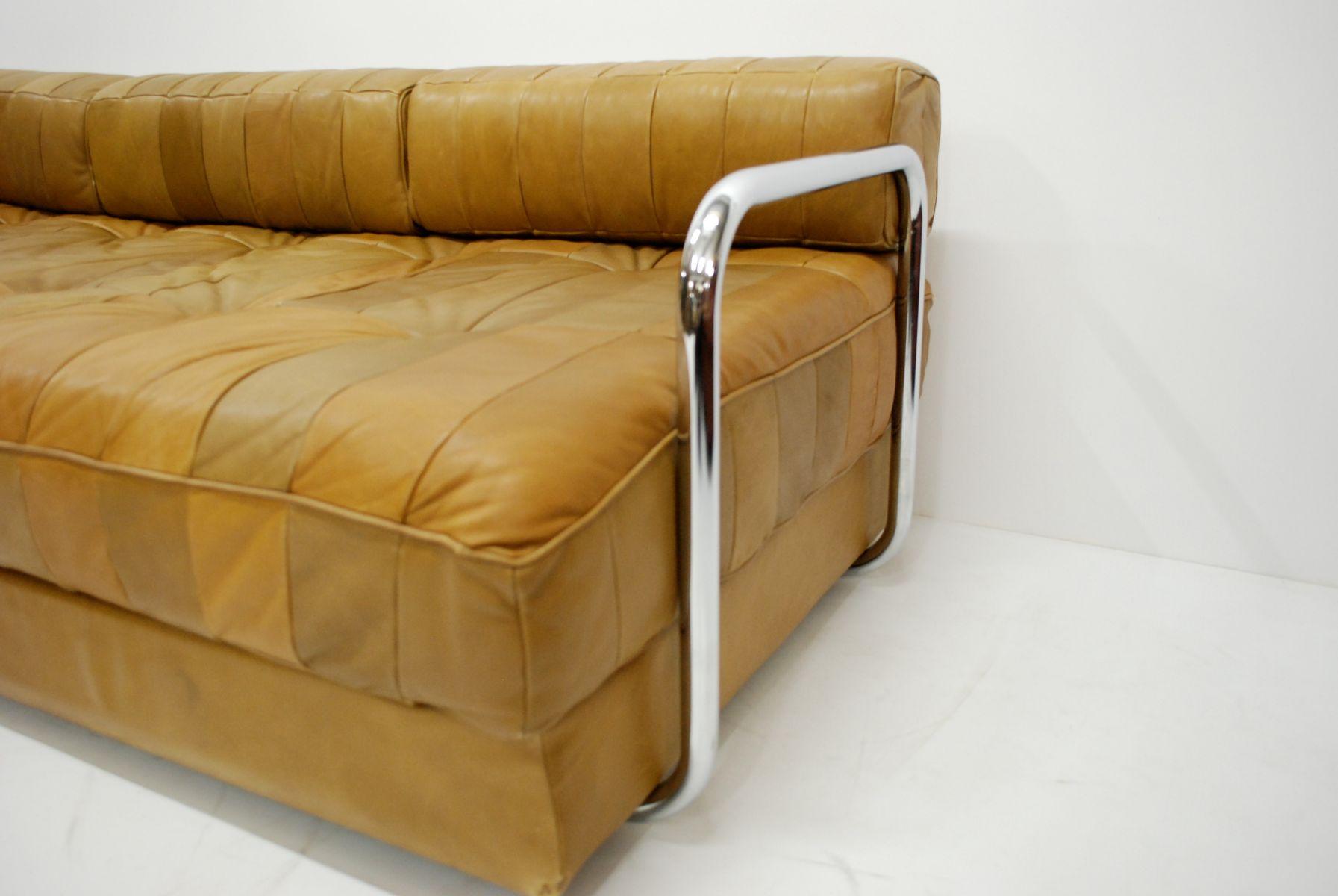 vintage caramel ds 80 schlafsofa aus leder von de sede bei. Black Bedroom Furniture Sets. Home Design Ideas