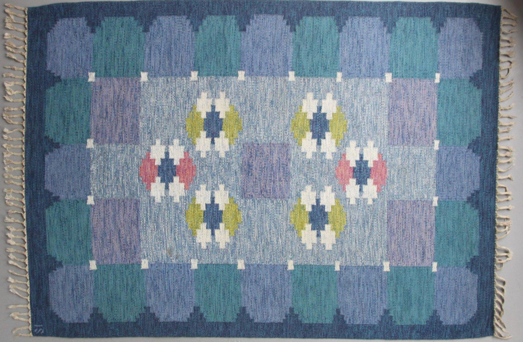gewebter schwedischer blauer r lakan teppich von ingegerd silow bei pamono kaufen. Black Bedroom Furniture Sets. Home Design Ideas