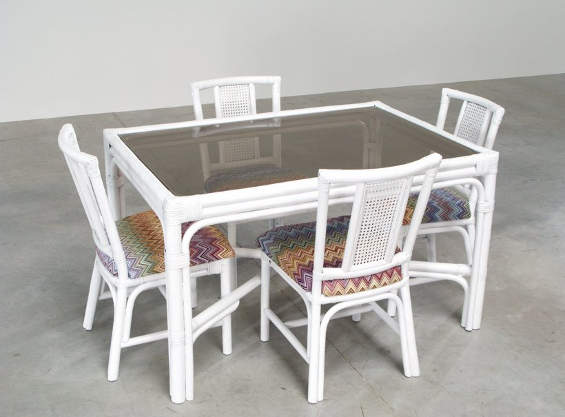 Beautiful White Rattan Dining Set With Four Chairs In Missoni Fabric