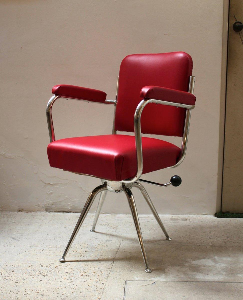 schreibtischstuhl aus chrom rotem leder 1930er bei pamono kaufen. Black Bedroom Furniture Sets. Home Design Ideas