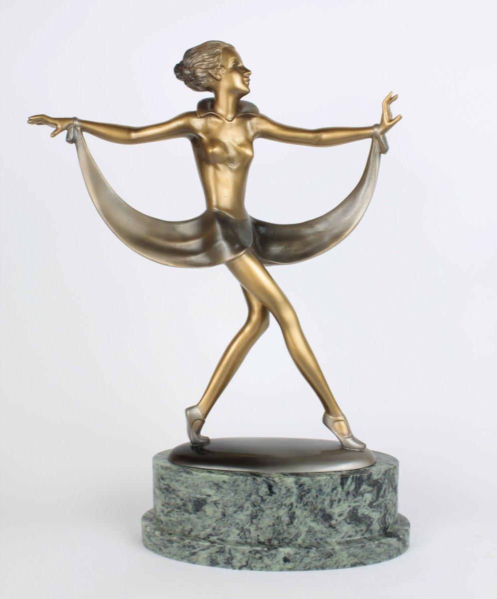 art deco bronze marble sculpture by josef lorenzl 1930 for sale at pamono. Black Bedroom Furniture Sets. Home Design Ideas