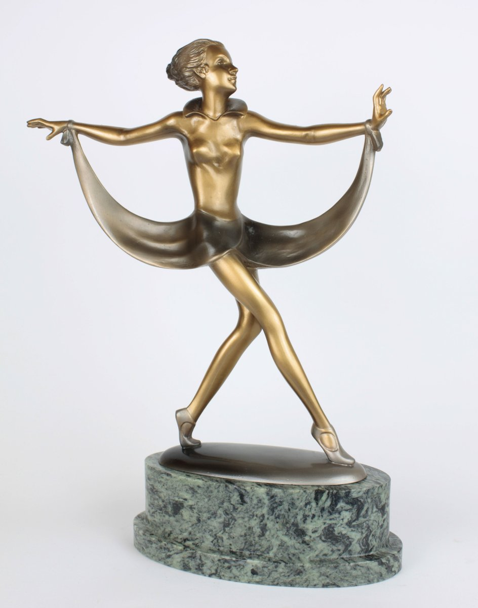 Art Deco Bronze& Marble Sculpture by Josef Lorenzl, 1930 for sale at Pamono