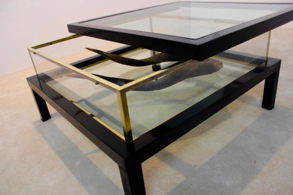 Hollywood Regency Sliding Top Br Coffee Table By Romeo Rega For