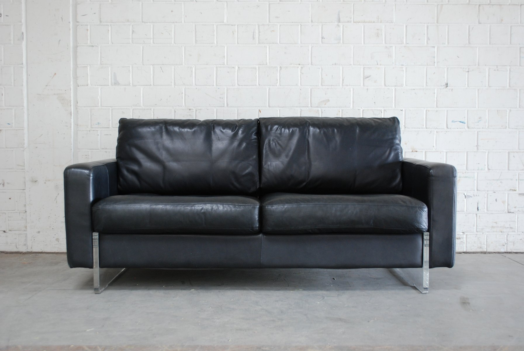Beautiful Vintage Black Leather Sofa From Lavalina For Sale At Pamono