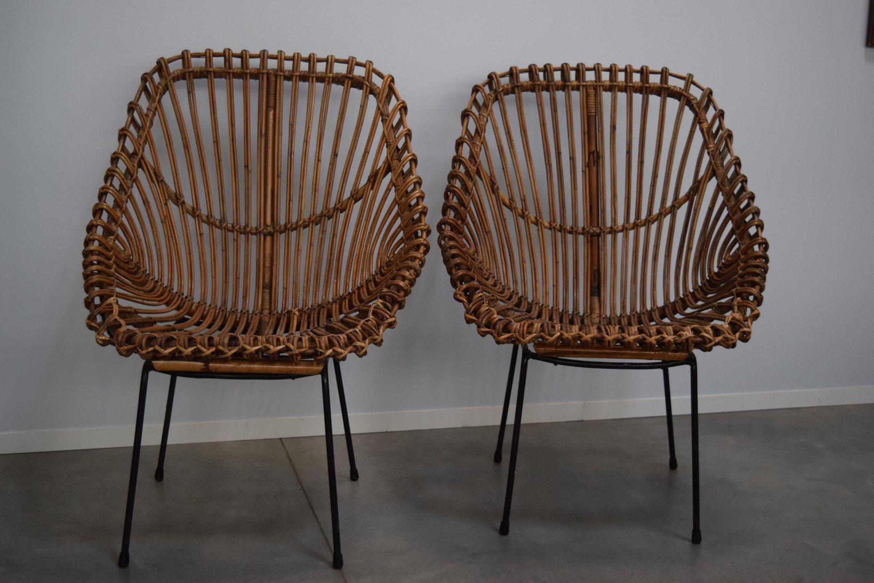 italienische giunco rattan st hle 1950er 2er set bei pamono kaufen. Black Bedroom Furniture Sets. Home Design Ideas