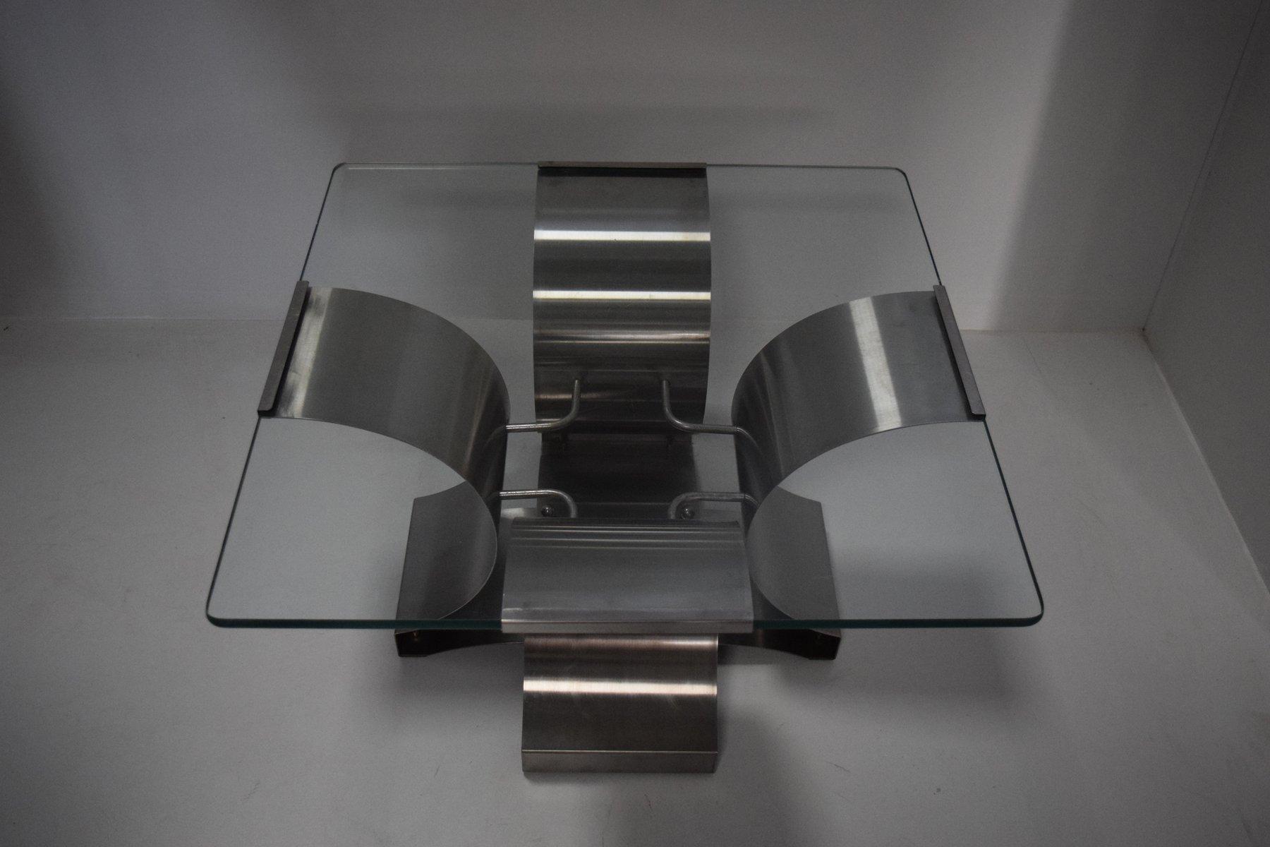 franz sischer stahl glas couchtisch von fran ois monnet 1970er bei pamono kaufen. Black Bedroom Furniture Sets. Home Design Ideas