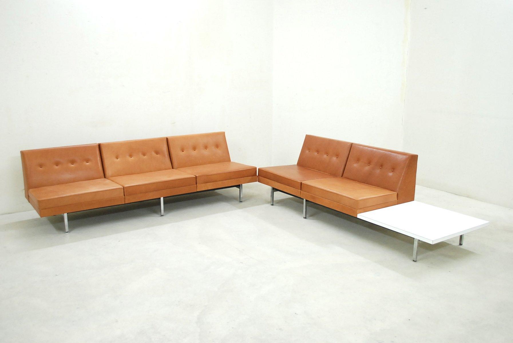 Juego de sofás modulares de cuero coñac de George Nelson para Herman ...