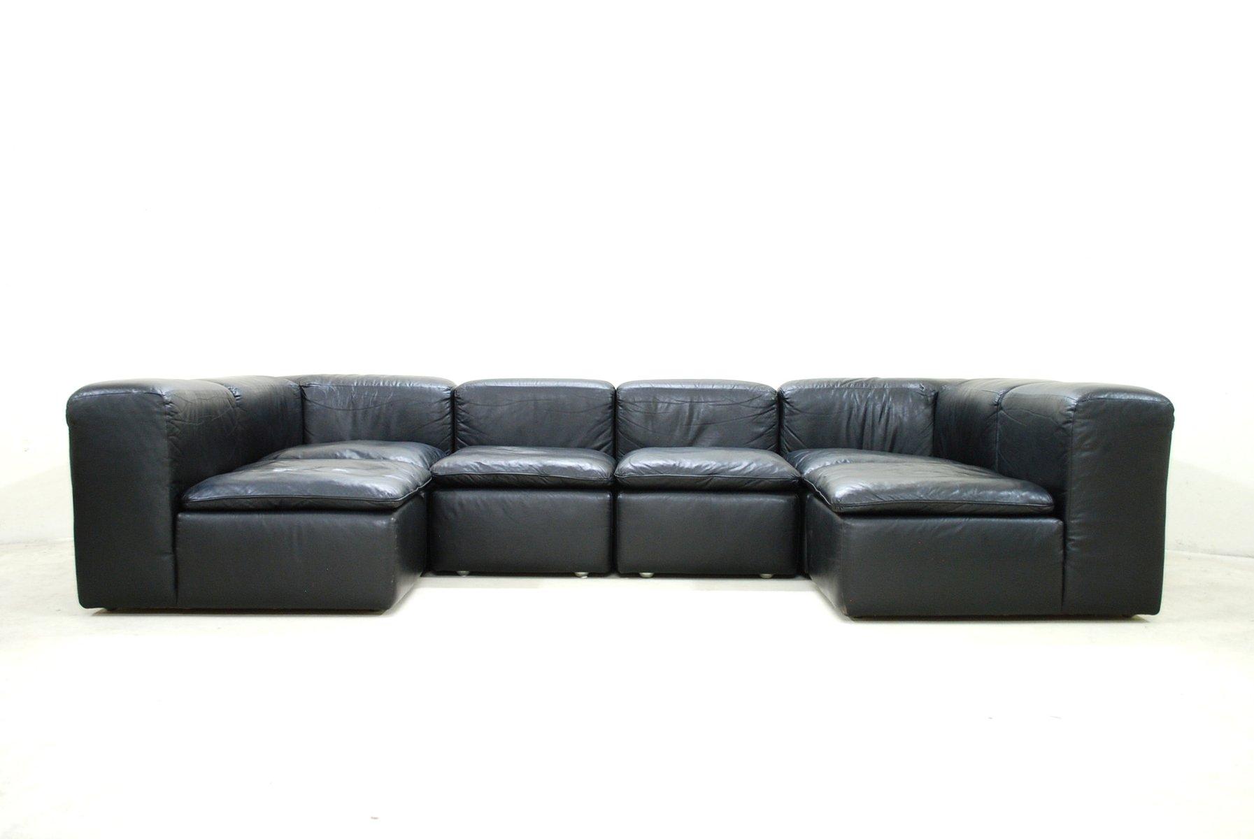 modular black cube design wk 550 leather sofa by ernst martin dettinger for wk m bel for sale at. Black Bedroom Furniture Sets. Home Design Ideas