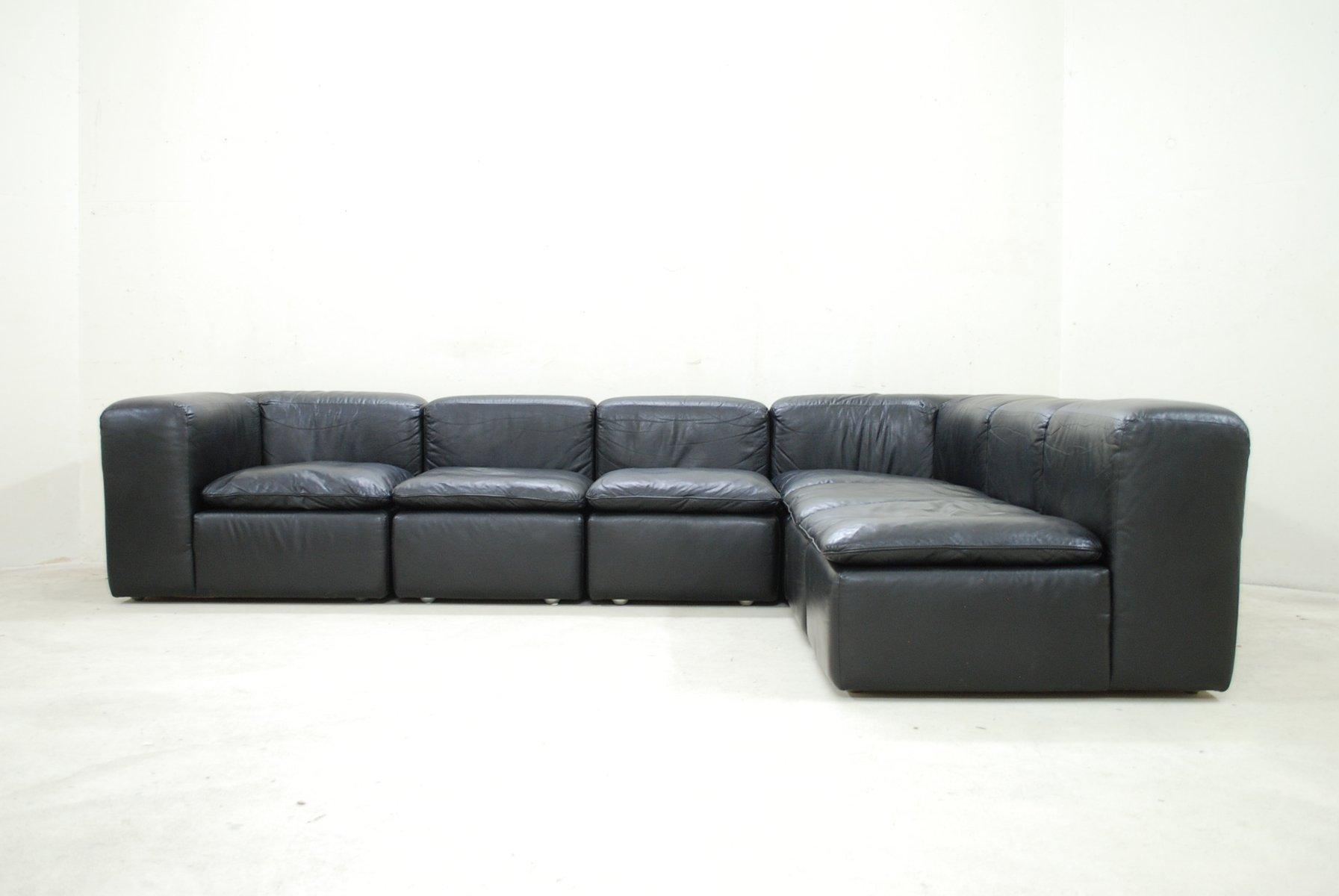 Modular Black Cube Design WK 550 Leather Sofa By Ernst Martin Dettinger For  WK Möbel