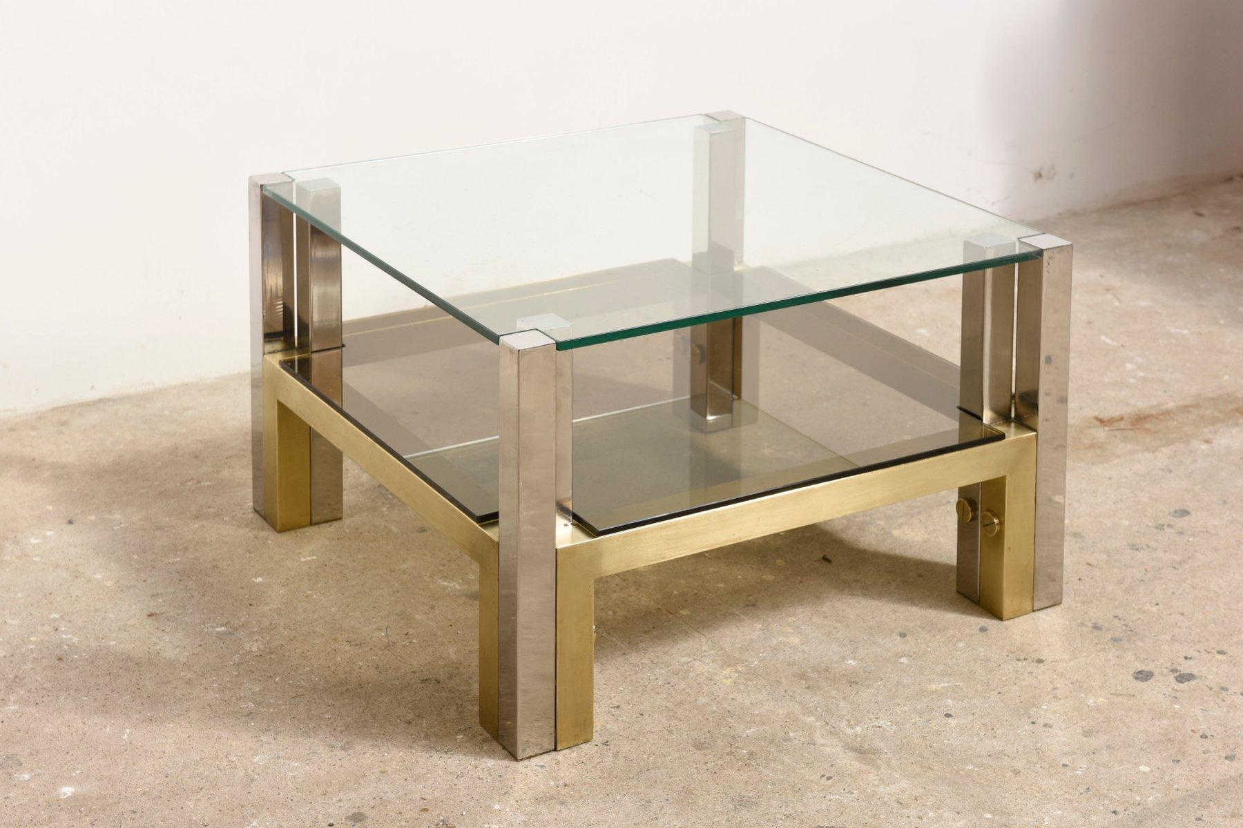 Tavolino da caff a due livelli in ottone e vetro di willy for Tavolino anni 60 design