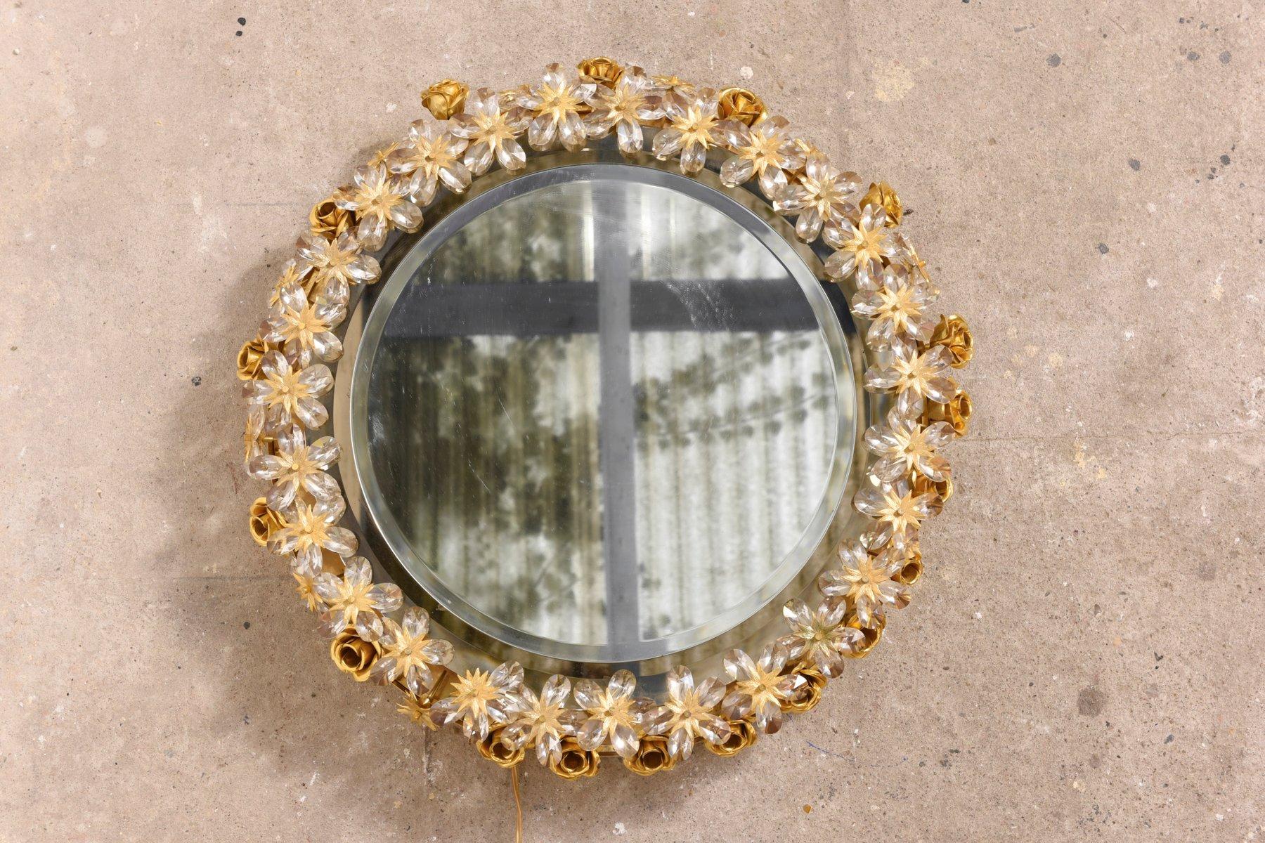 gro er spiegel mit blumenrahmen von palwa 1975 bei pamono kaufen. Black Bedroom Furniture Sets. Home Design Ideas