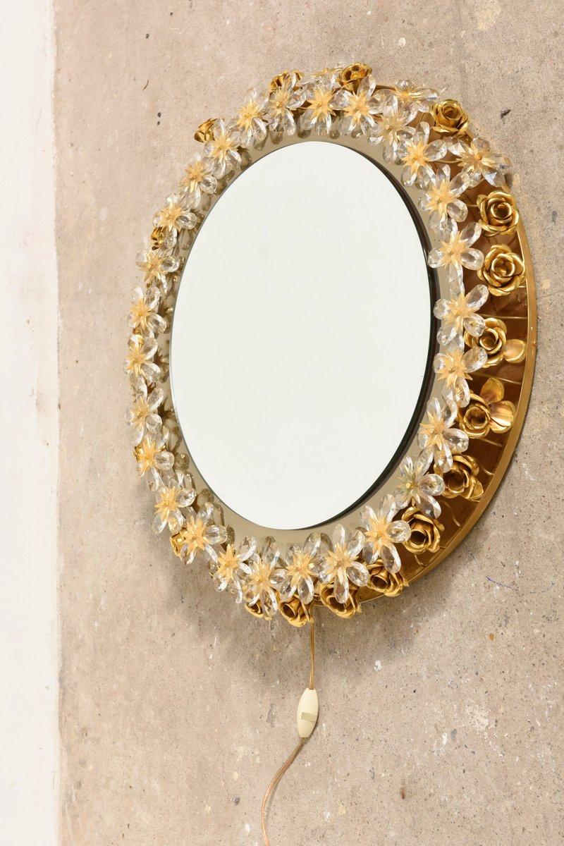 gro er spiegel mit blumenrahmen von palwa 1975 bei pamono. Black Bedroom Furniture Sets. Home Design Ideas