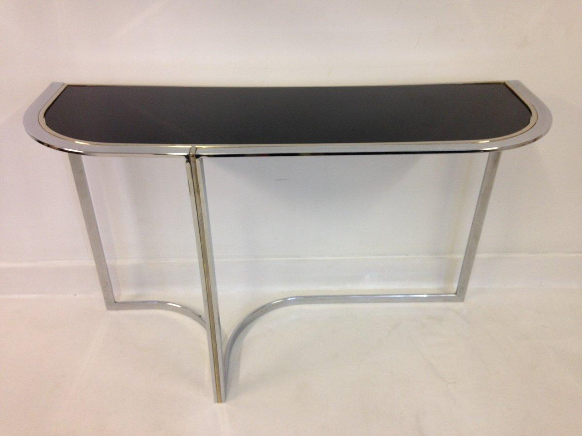 Vintage Chrome U0026 Black Glass Console Table