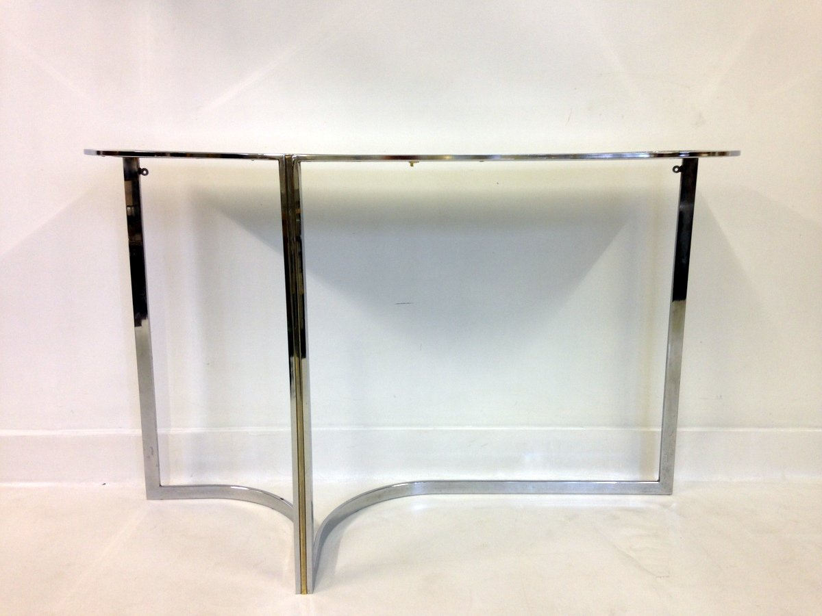 Vintage Chrome U0026 Black Glass Console Table For Sale At Pamono