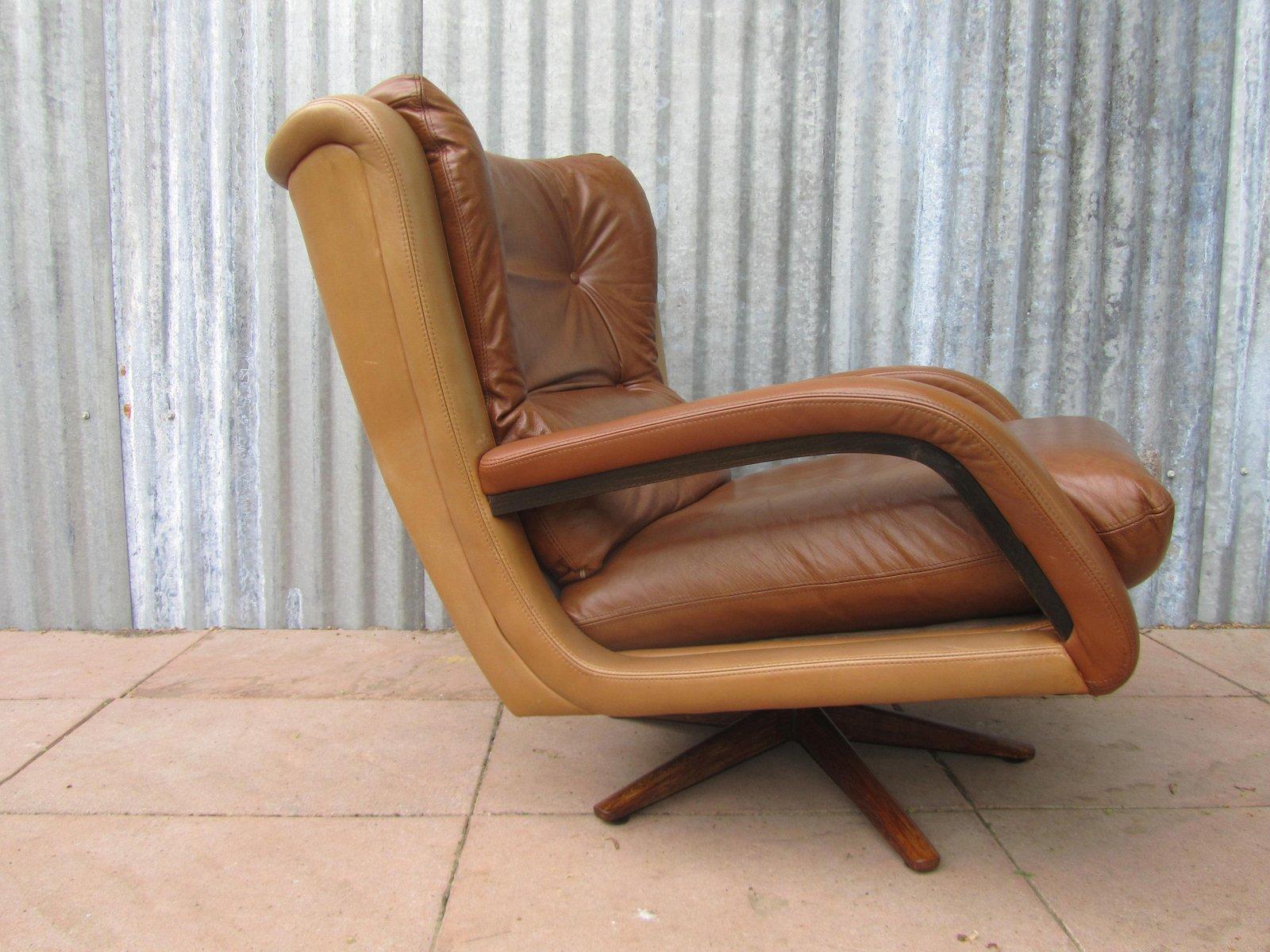 Poltrona vintage in pelle bicolore, anni \'60 in vendita su Pamono