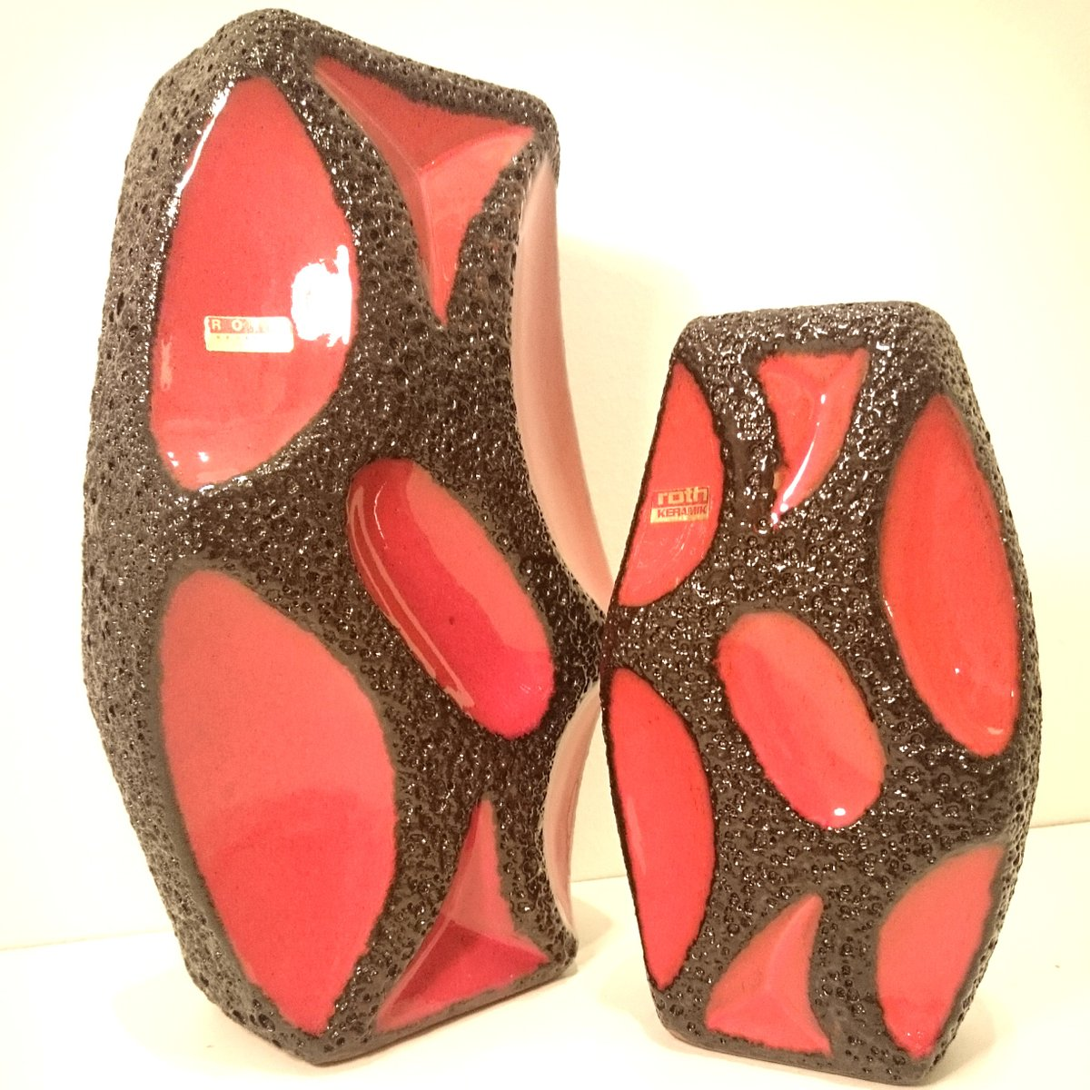 German red and black fat lava lozenge vases from roth 1960s for german red and black fat lava lozenge vases from roth 1960s reviewsmspy