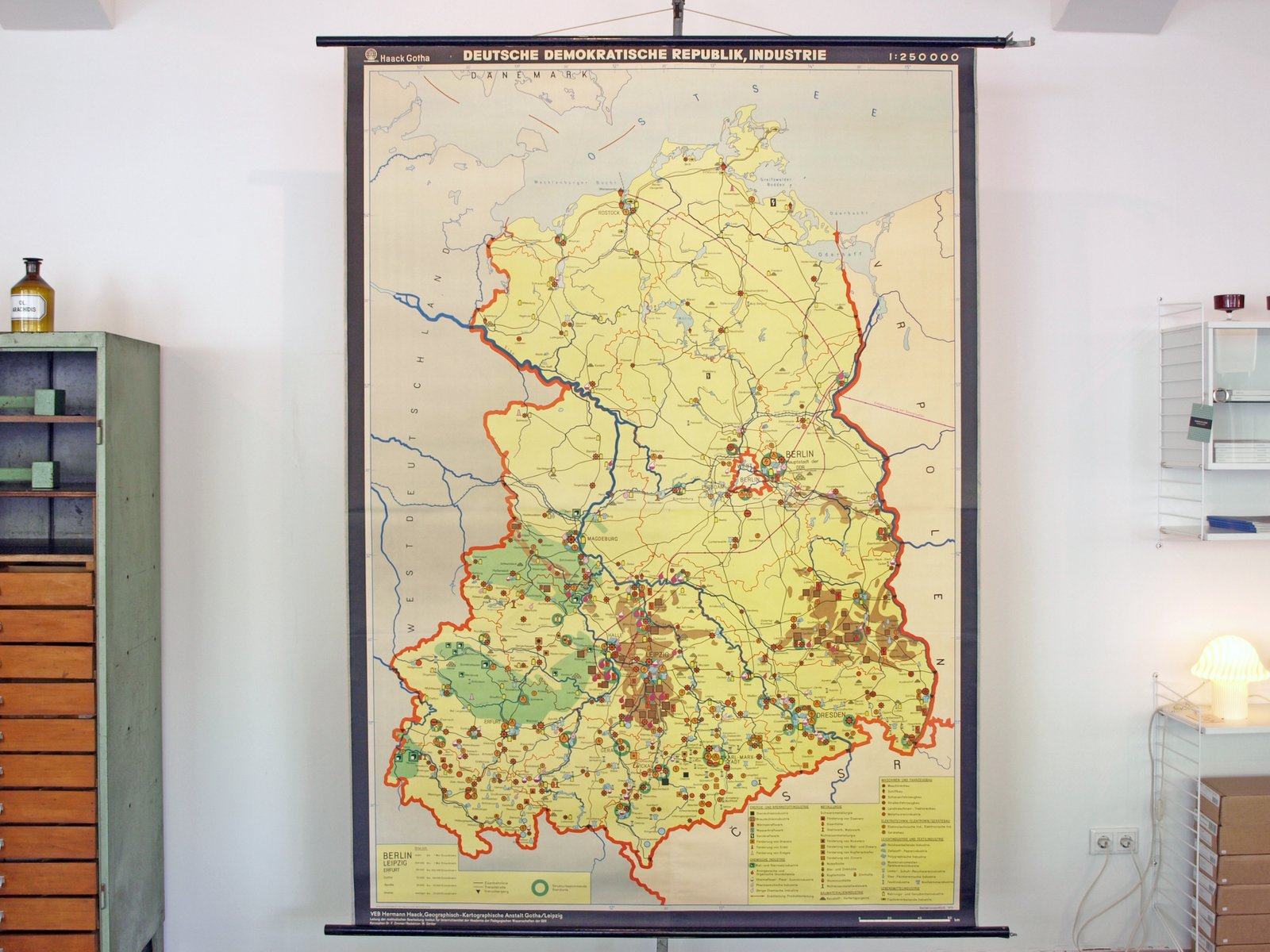 Vintage School Map of Industry in East Germany for sale at Pamono