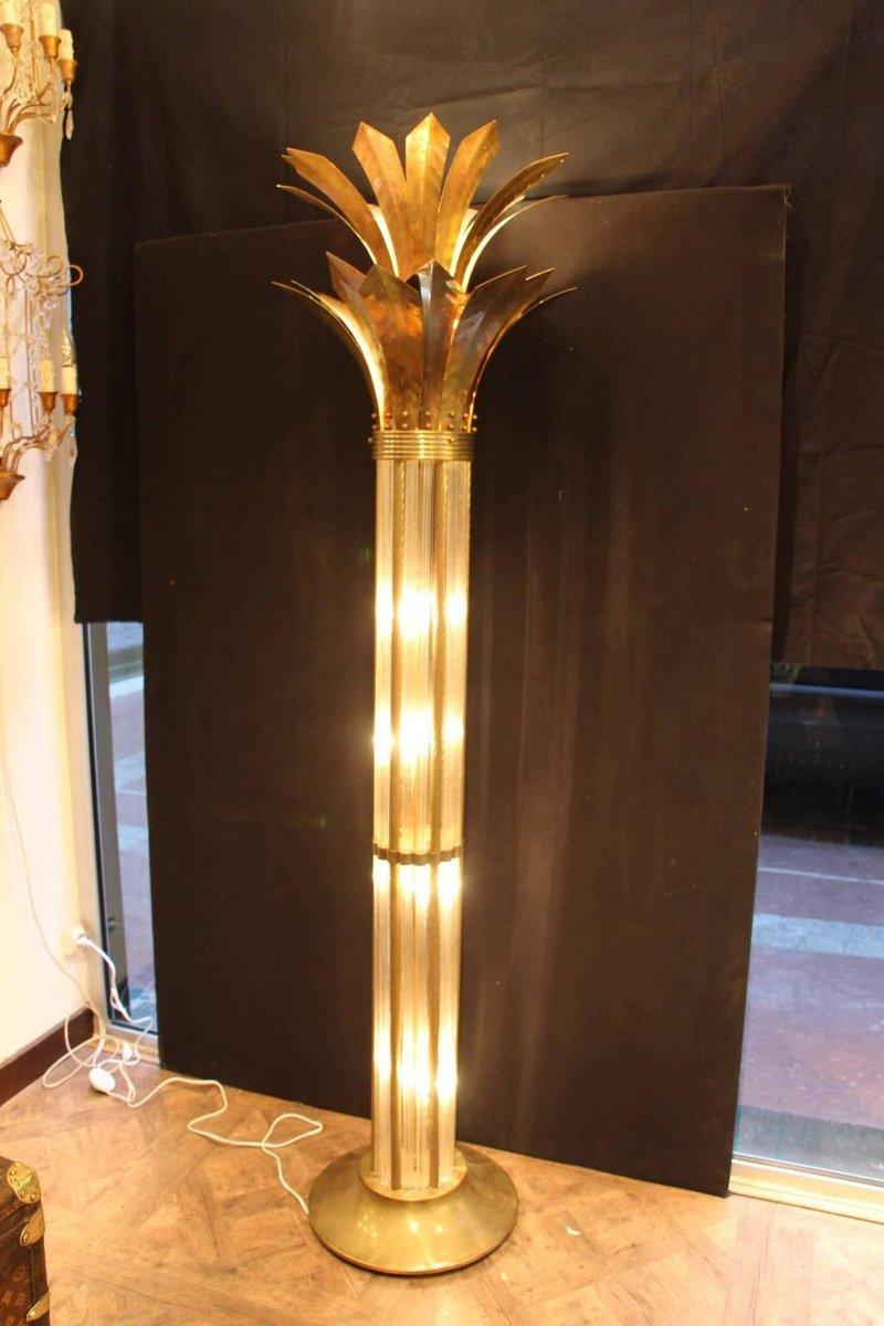 Mid Century Modern Italian Brass Amp Glass Floor Lamp For