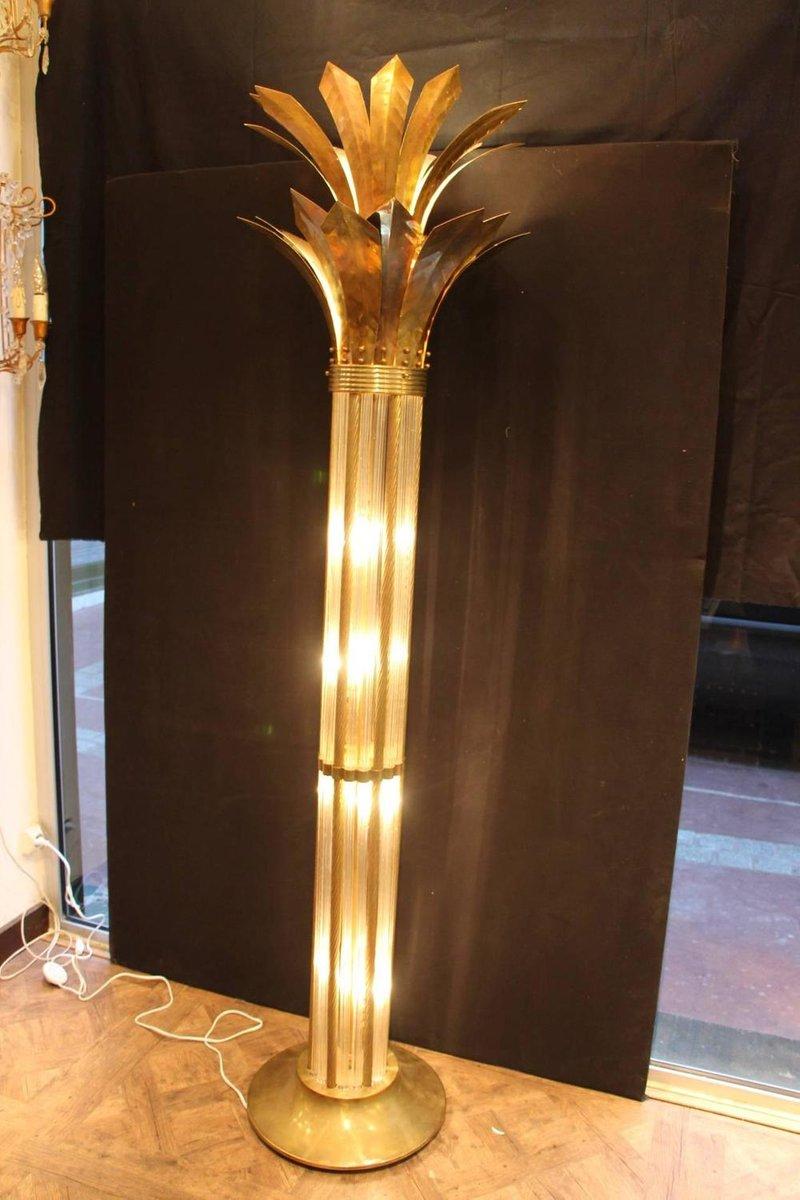 italienische mid century stehlampe aus messing und glas bei pamono kaufen. Black Bedroom Furniture Sets. Home Design Ideas