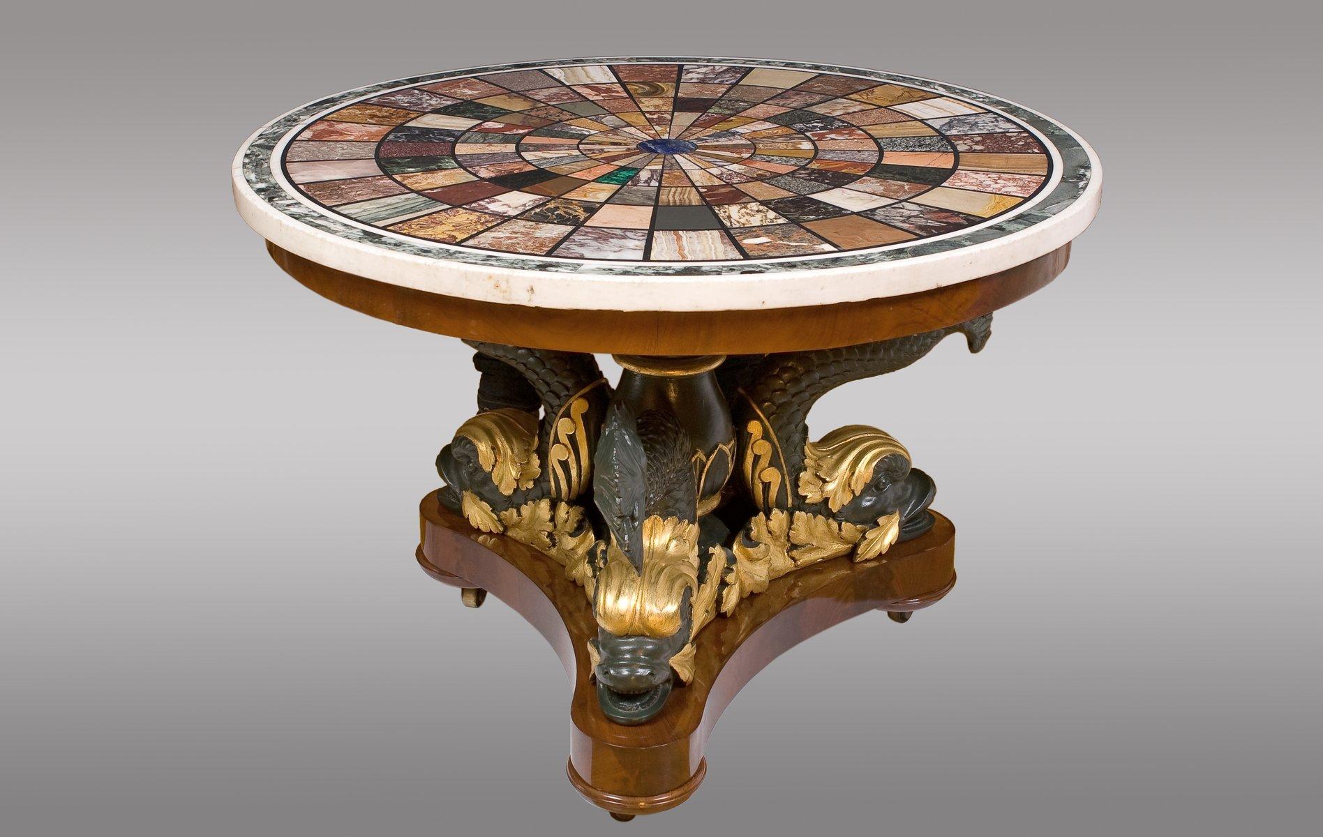 Table d 39 appoint en acajou et bois dor sculpt par fratelli blasi 1827 en vente sur pamono - Table d appoint dore ...