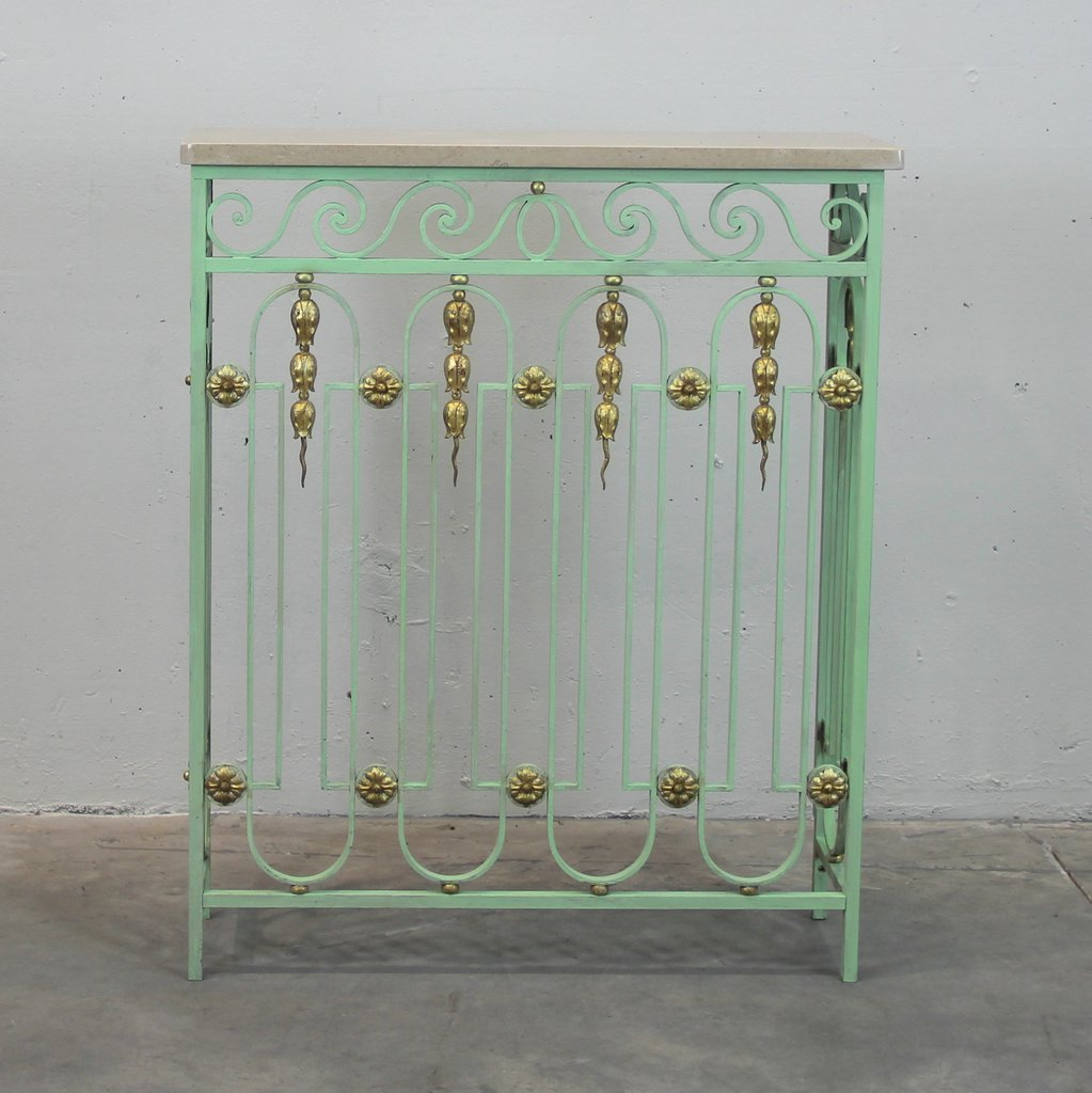Vintage French Radiator Console Tables Set Of 2 For Sale