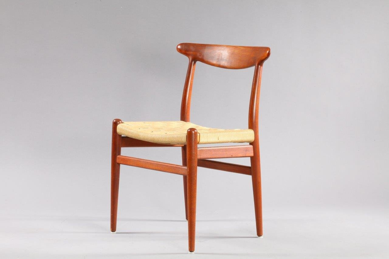 Danish Model W2 Teak Dining Chairs By Hans Wegner For C M
