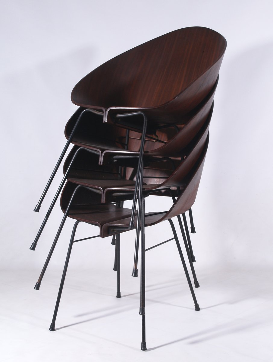 italian molded plywood stacking chair 1950 for sale at pamono. Black Bedroom Furniture Sets. Home Design Ideas