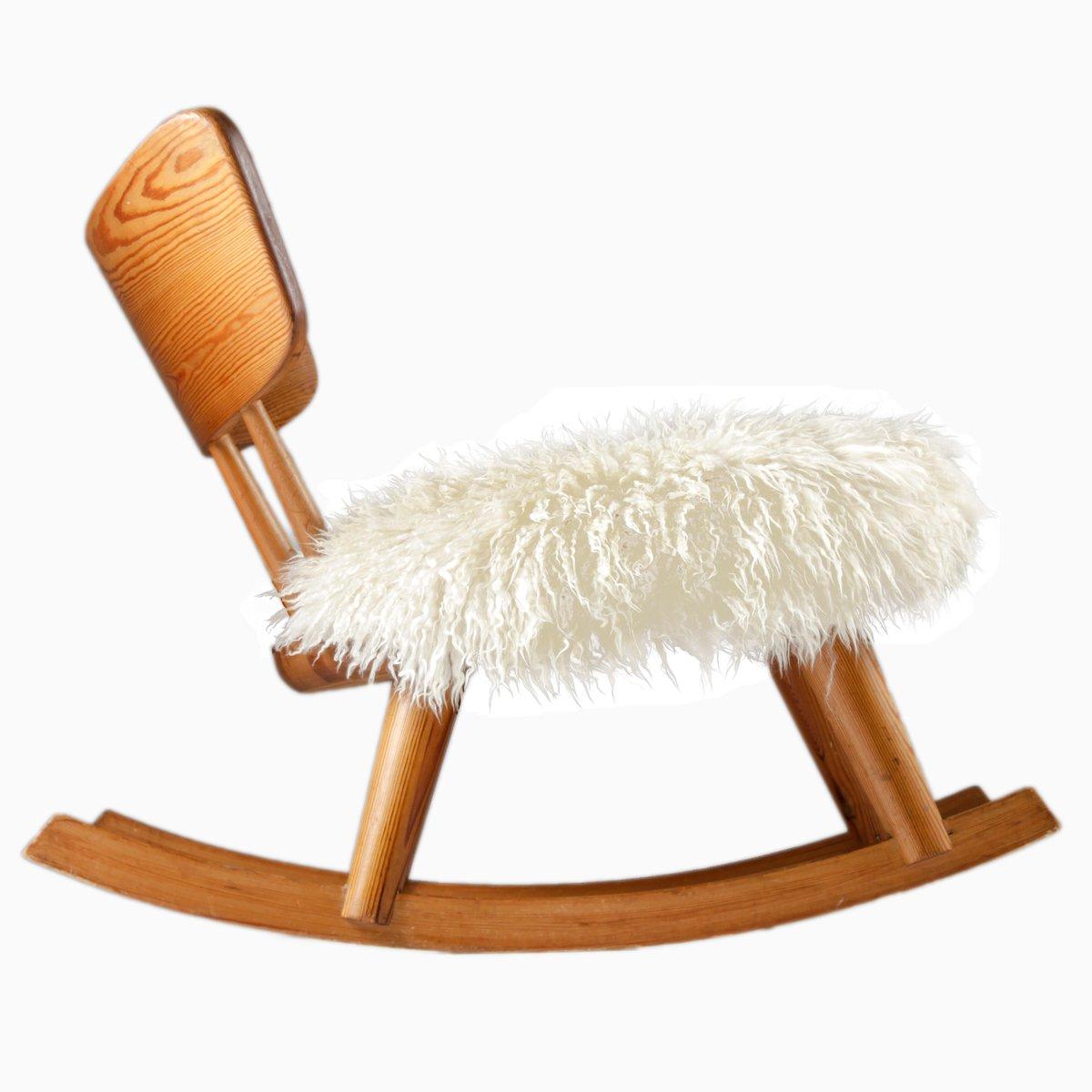 Swedish Pine Wood Rocking Chair, 1940s