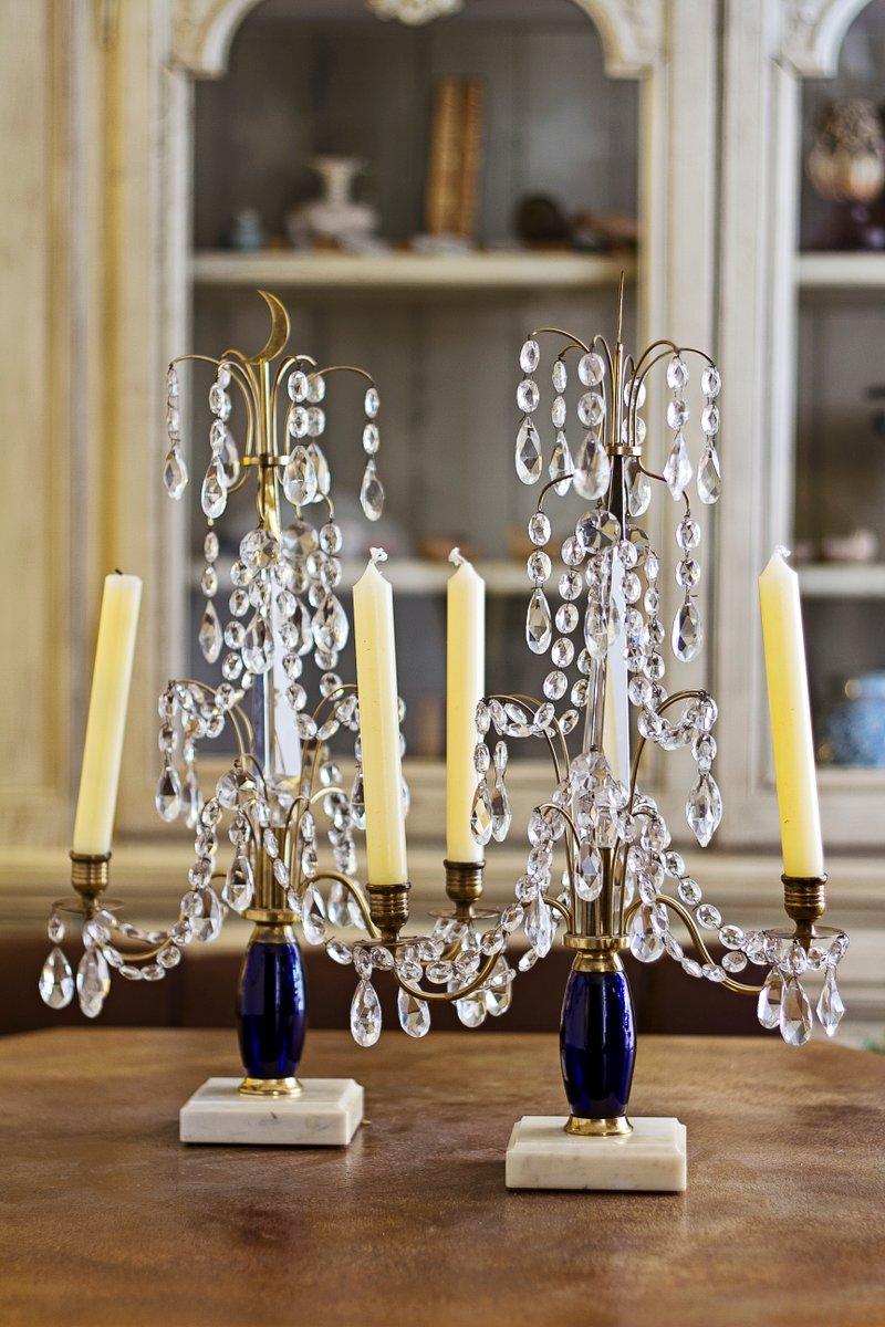 russischer kerzenhalter aus glas messing marmor 2er set bei pamono kaufen. Black Bedroom Furniture Sets. Home Design Ideas