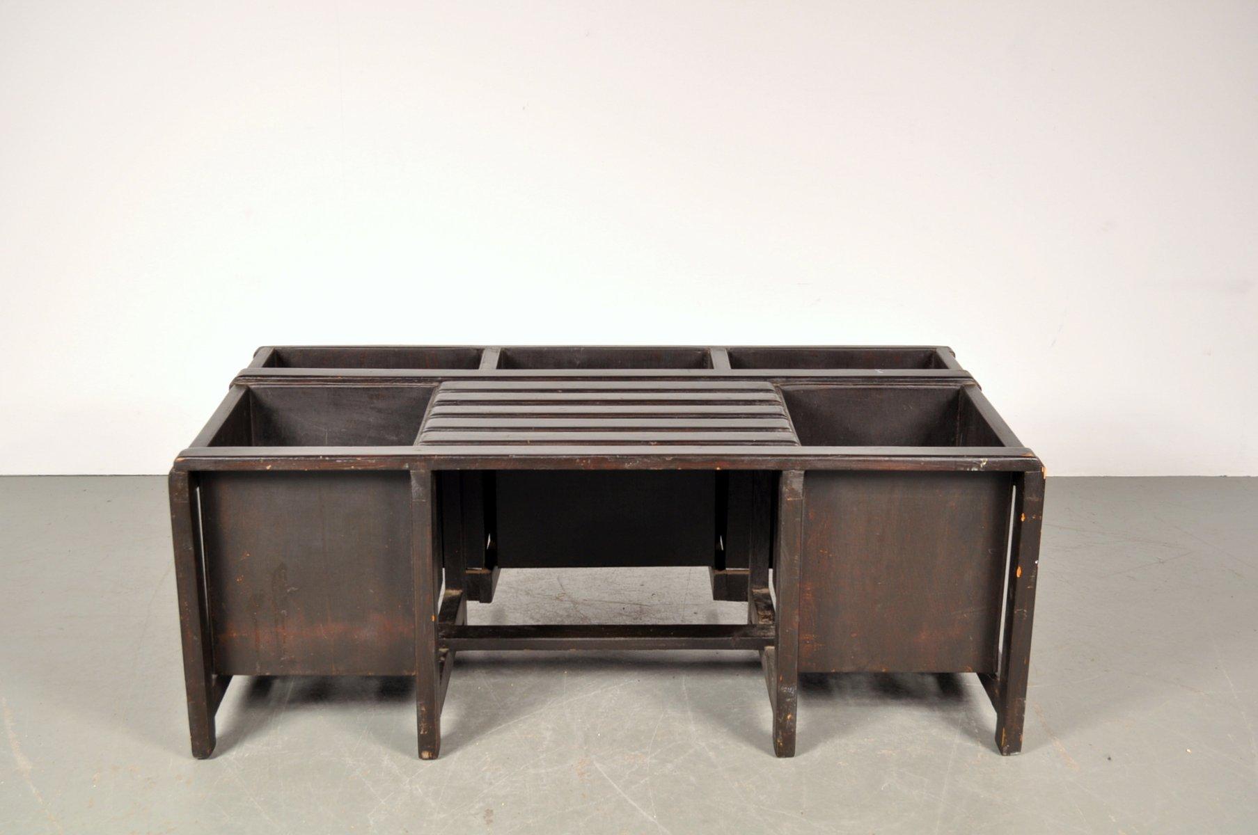 schwarz gef rbte holzbank mit stauraum 1950er bei pamono kaufen. Black Bedroom Furniture Sets. Home Design Ideas