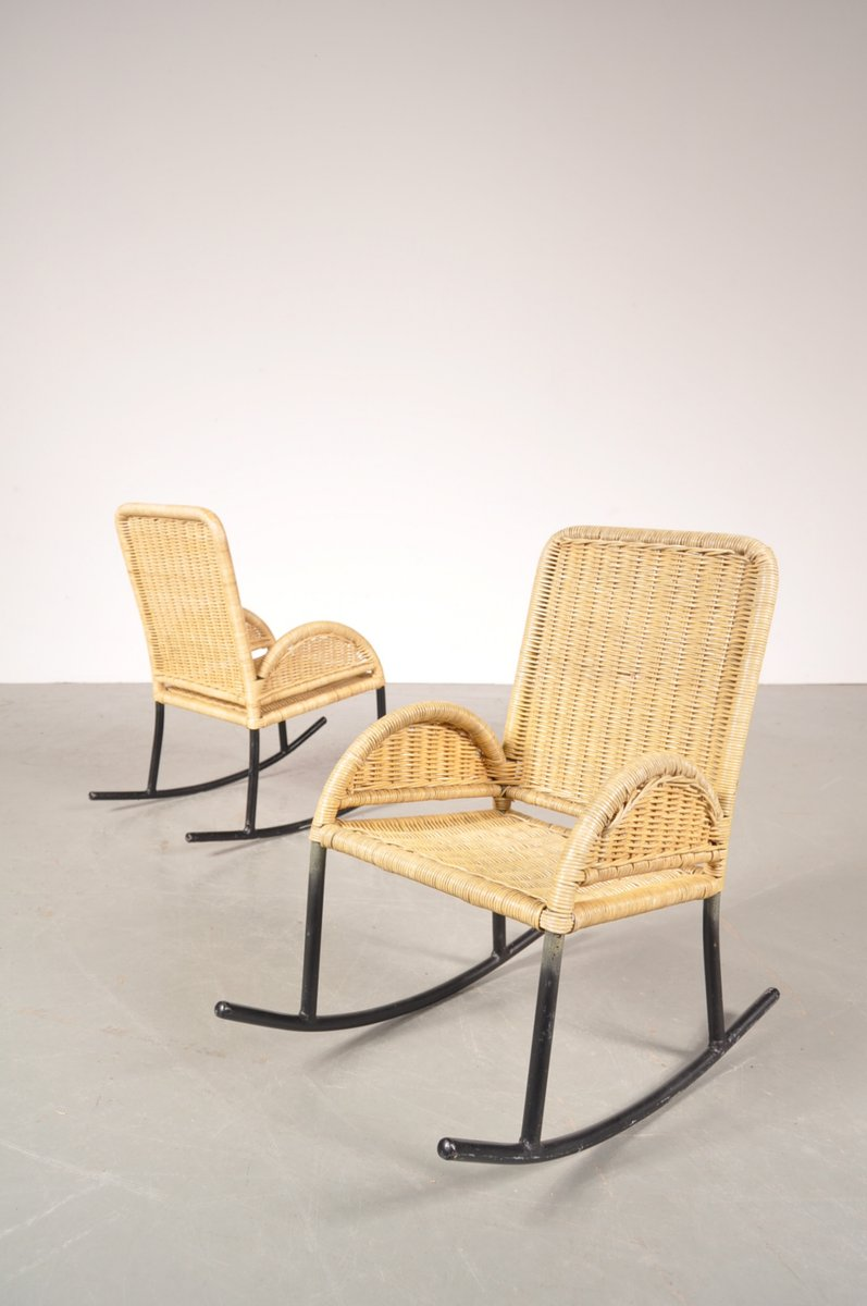 Childrens Wicker Rocking Chairs 1950s Set Of 2 For Sale At Pamono