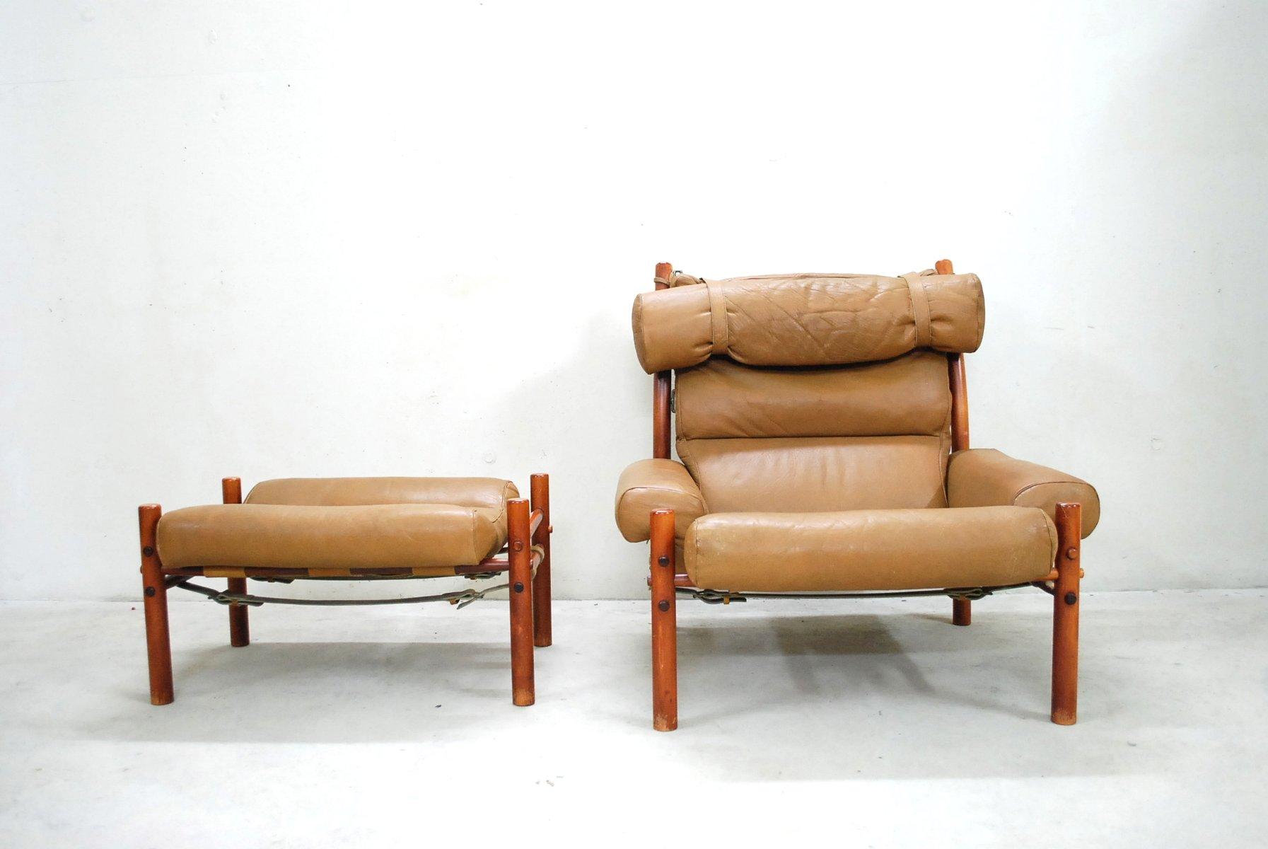 inca sessel mit hocker von arne norell bei pamono kaufen. Black Bedroom Furniture Sets. Home Design Ideas