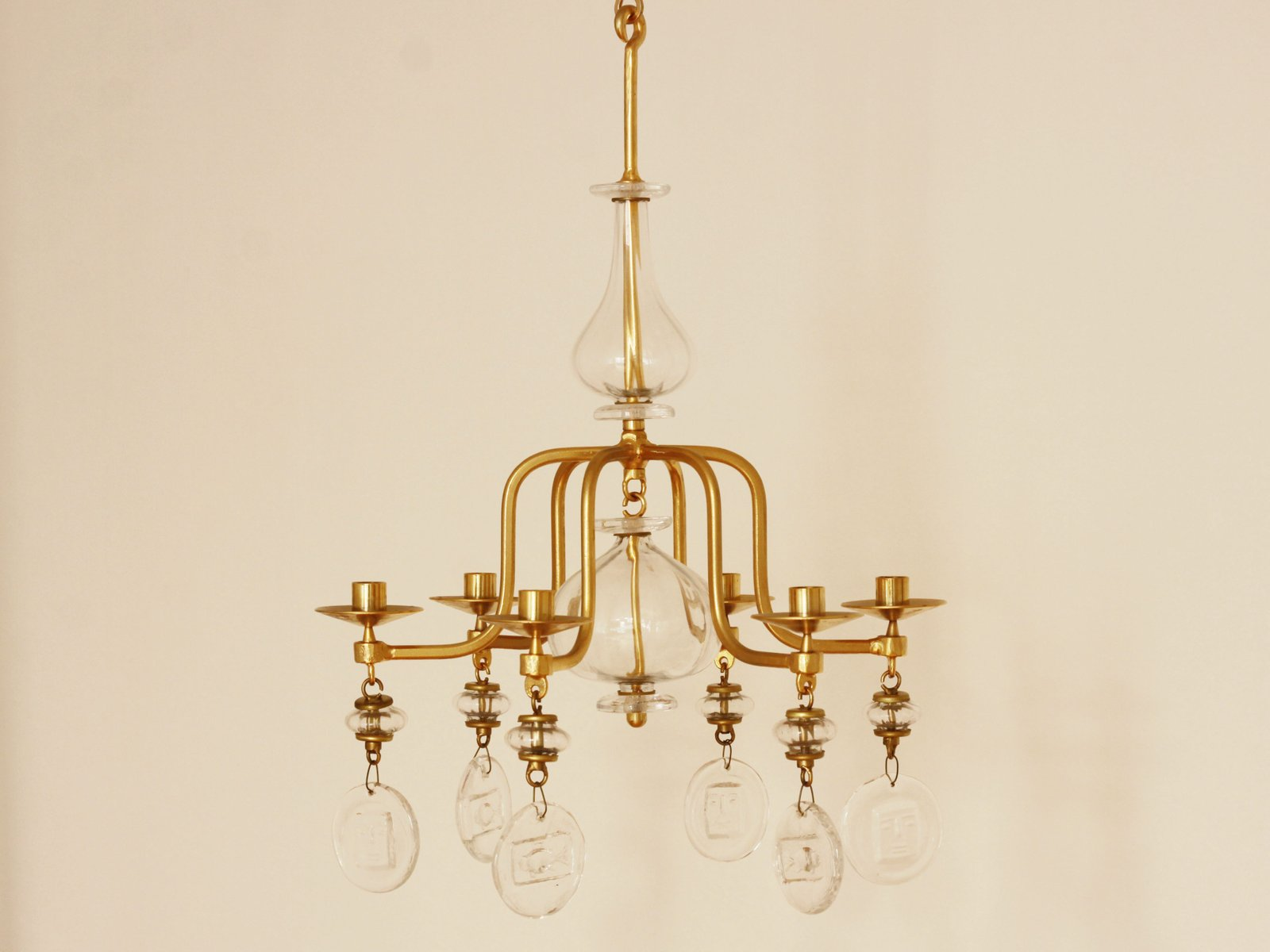 Mid Century Gilded Iron & Glass Candle Chandelier by Erik