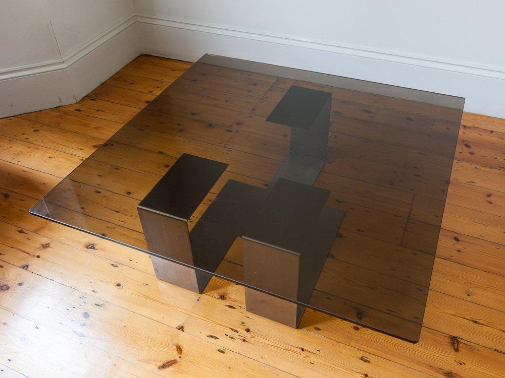 italienischer couchtisch aus stahl rauchglas 1970er bei. Black Bedroom Furniture Sets. Home Design Ideas