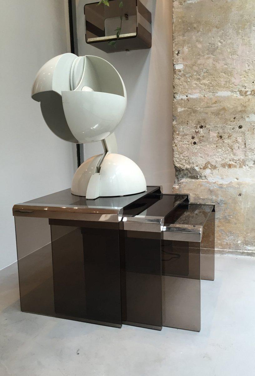 Tavolini a incastro in vetro Gigognes e metallo cromato di ...