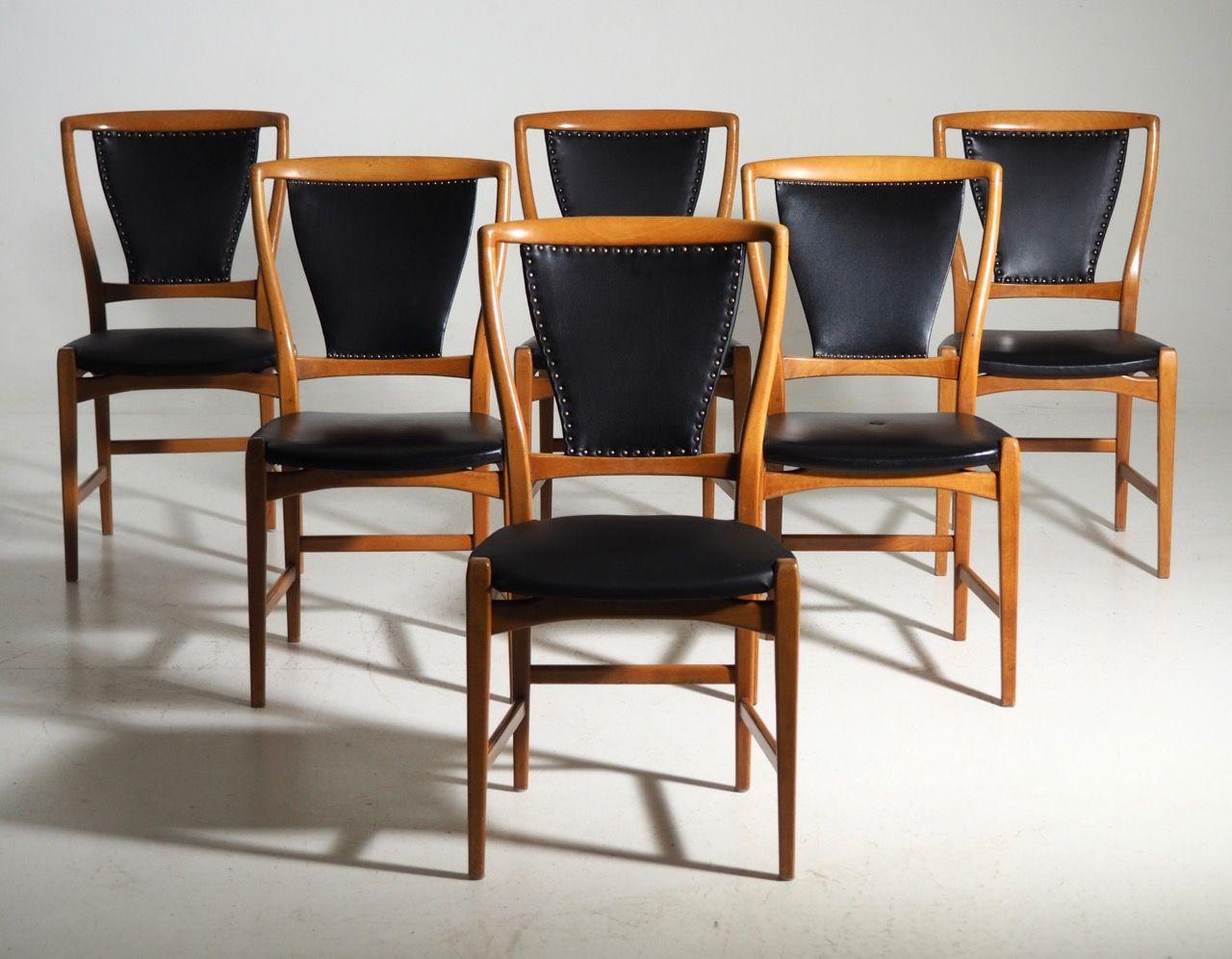 Skandinavische Esszimmerstühle Aus Obstbaumholz U0026 Kunstleder, 1960er, 6er  Set