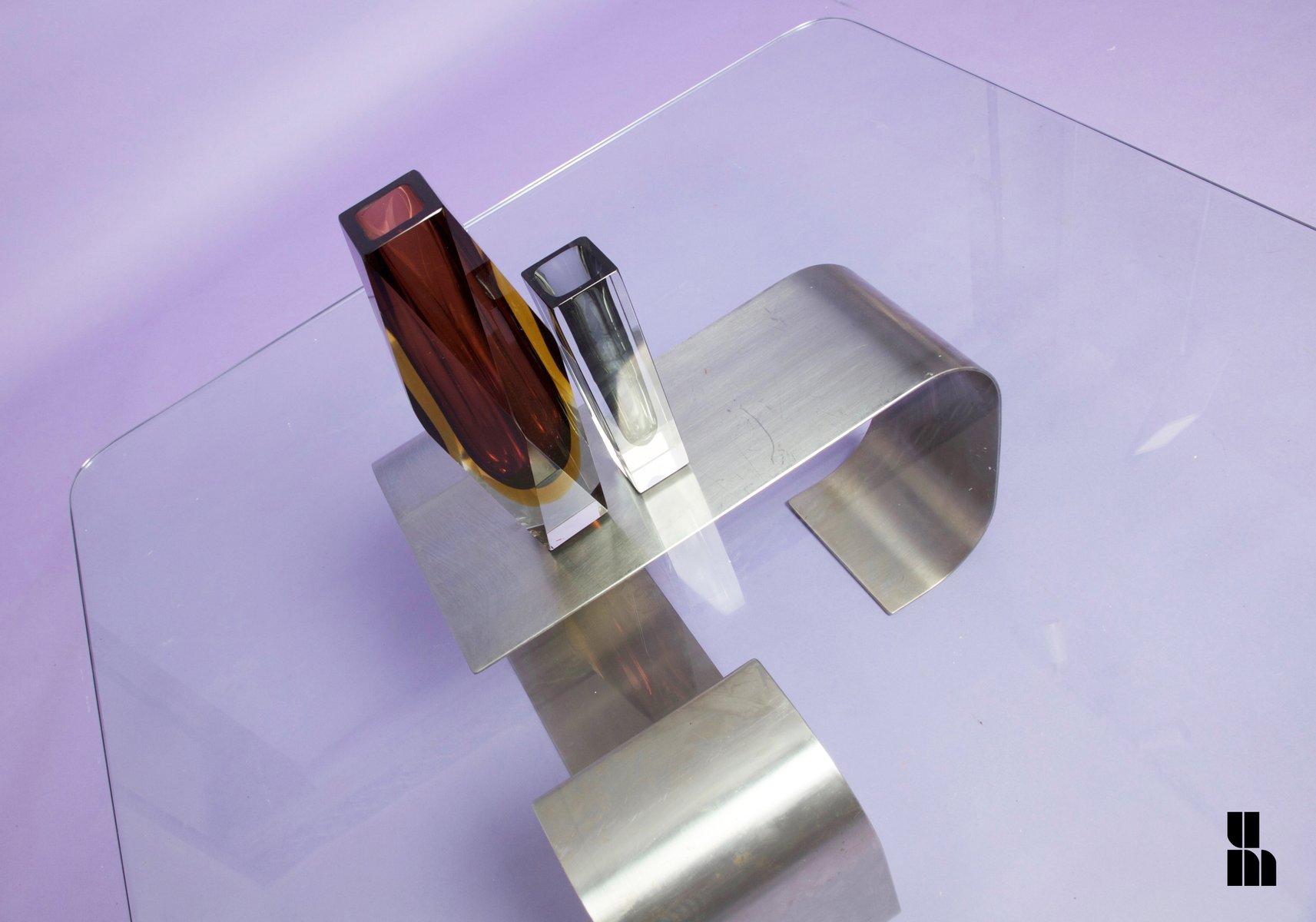 franz sischer naja glas stahl couchtisch von francois monnet f r kappa 1969 bei pamono kaufen. Black Bedroom Furniture Sets. Home Design Ideas