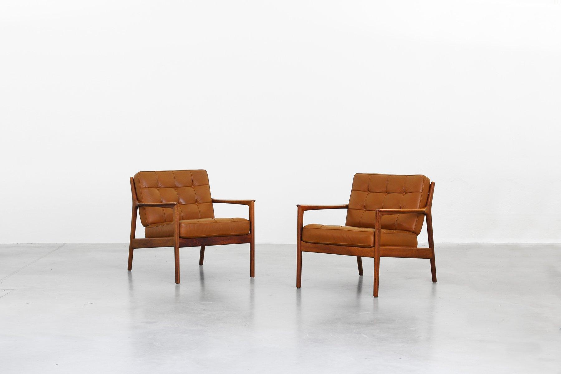 leder teak armlehnst hle von folke ohlsson f r dux. Black Bedroom Furniture Sets. Home Design Ideas
