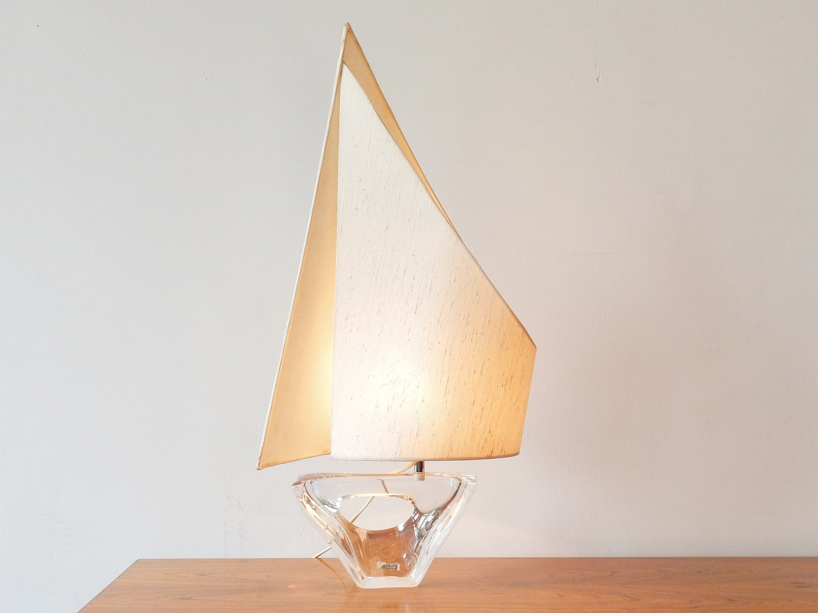 French Crystal Glass Table Lamp From Duam, 1950s