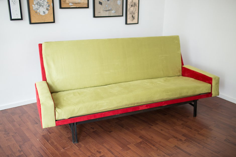 French Three Seater Convertible Sofa Bed By René Jean Caillette For  Steiner, 1961