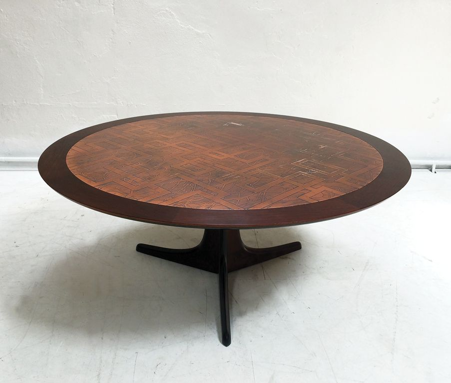 Rosewood U0026 Copper Coffee Table, 1960s