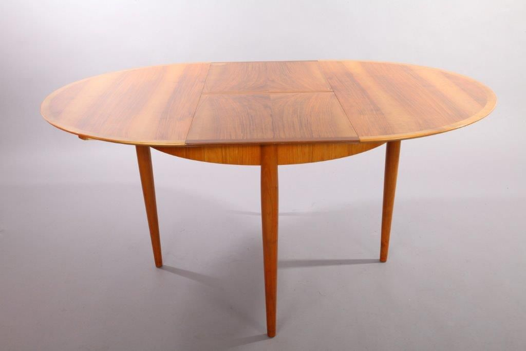 German Cherry Wood Extendable Dining Table With Six Chairs By Ernst Martin Dettinger For Lübke 1960s Set Of 7