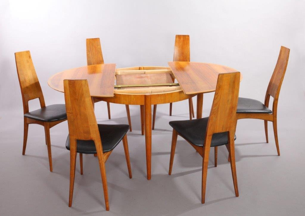 German Cherry Wood Extendable Dining Table With Six Chairs By Ernst